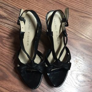 Marc Fisher Black Leather Wedges Size 7